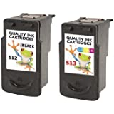 Refilled 2 X Canon Printer Ink Cartridges Pg 512 Cl 513 Black And Colour Twin Pack