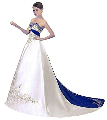 Vantexi Damen Trägerloses Wulstige Stickerei Hochzeitskleid Brautkleider Elfenbein Blau 60