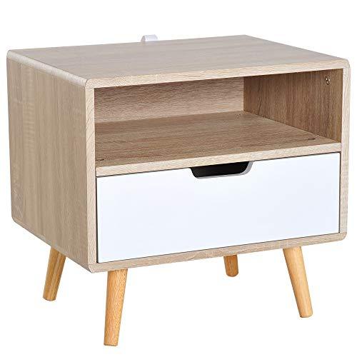 Homcom Chevet Table de Nuit Design scandinave tiroir + Niche Bicolore Pieds effilés inclinés Bois Massif chêne Clair Blanc
