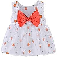 Vestidos niña Invierno | Tops de Estampado de Lunares sin Mangas para bebés y niños pequeños Conjuntos de Vestido de Princesa con Lazo 0-4 años