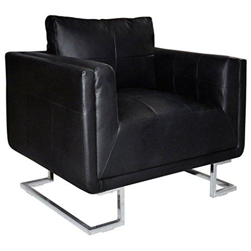 Anself Sessel Polstersessel Wohnzimmersessel Loungesessel Leder Sessel mit Chromfüßen 2 Farbe...