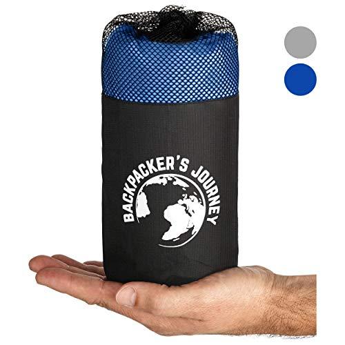 Backpacker's Journey 2in1 Hüttenschlafsack mit durchgängigem Reißverschluss: Leichter Komfort Reiseschlafsack und Reisedecke in Einem. Kombinierbar zu 2 Personen Schlafsack (Blau)