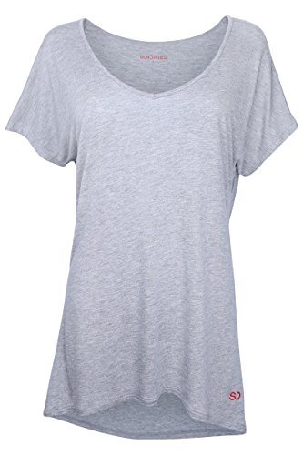 Damen Weites Yoga Fitness Training T-Shirt von Ethical Activewear Designer Sundried® Locker Baggy Ultra Weich Luxus (Small) (Guess-designer-kleidung)