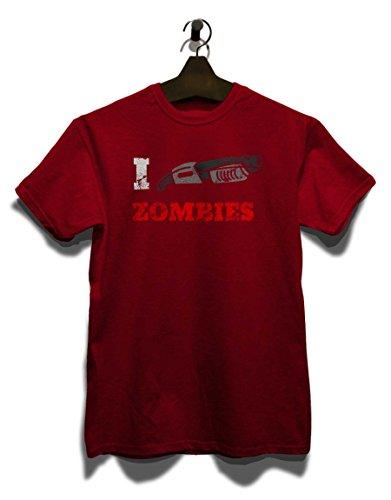 I Shotgun Zombies Vintage T-Shirt Bordeaux