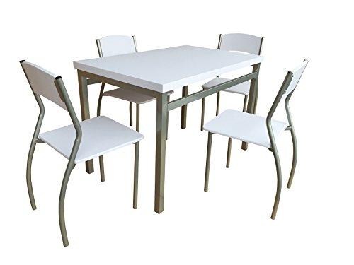 AVANTI TRENDSTORE - Gentilino - Set con tavolo e 4 sedie per cucina o sala  da pranzo, in metallo e MDF bianco. Dimensioni tavolo: LAP 110x76x70 cm, ...