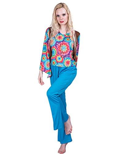 EraSpooky Damen Lieben Frieden Hippie Kostüm, Oberteil und Hose