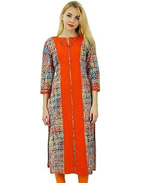 Phagun Mujeres Modelo geométrico Diseñador Kurti étnico algodón de la tapa vestido de la túnica