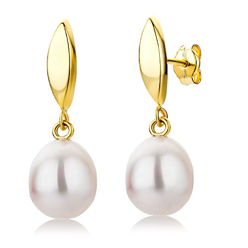 Miore 9 kt (375) Yellow Gold Freshwater Pearl Drop Earrings for Women, 8 x 24mm