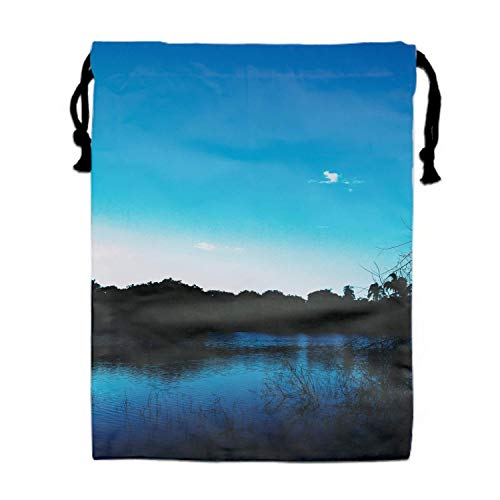 Naiyin Pond Evening Grass Trees Sky Drawstring Backpack Bags for Party Favors Supplies Birthday, Gift for Kids Teens Boys and Girls, 1 Pack 15.75 x 11.8