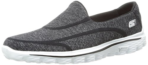 Skechers GO Walk 2 Super Sock Damen Walkingschuhe, Black (Bkw), 39 EU