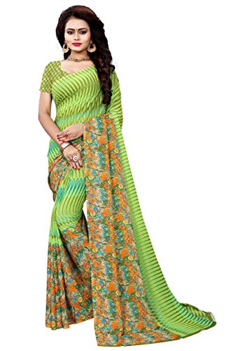 sidhidata Textile women\'s Daily Wear Casual Wear Designer Printed Synthetic Georgette Saree With Unstitched Blouse Piece (Print 35_MultiColour_Free Size)