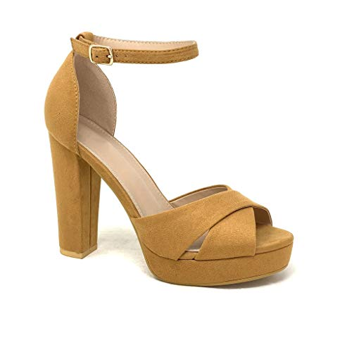 Camel High Heels (Angkorly - Damen Schuhe Pumpe Sandalen - High Heels - Plateauschuhe - Abend - gekreuzte Riemen - Basic Blockabsatz high Heel 11.5 cm - Camel B-87 T 36)