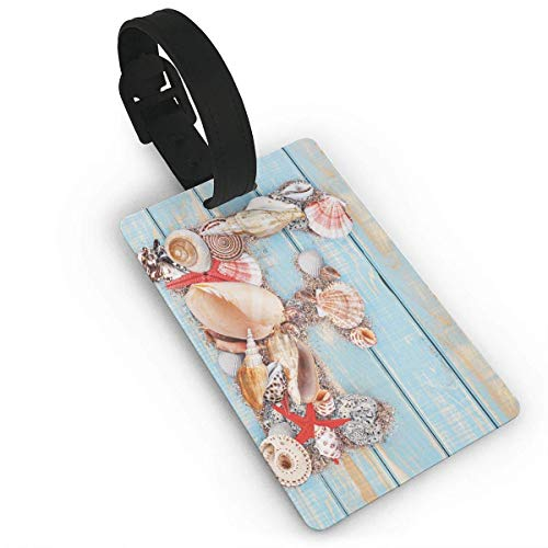 Coastal Image with Soft Color Sea Related Animal Shells Alphabet Luggage Tags Tag Soft Shell