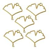Wanfor5 pezzi di ciondoli vuoti a forma di foglia di Ginkgo con cornice aperta per creare gioielli in resina