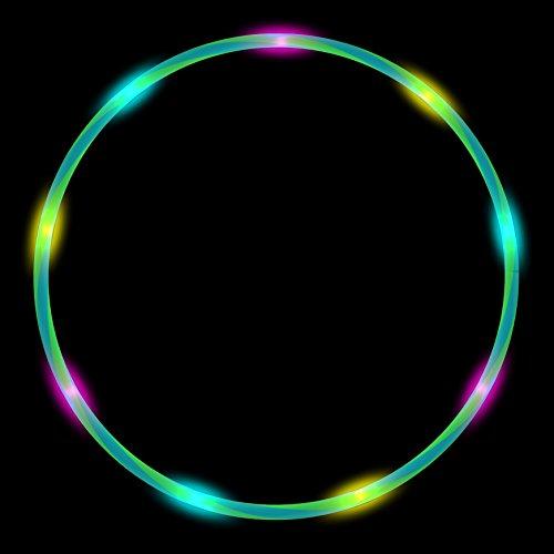 Alldoro LED Hoop Fun Reifen 80cm - Hula Hoops mit 12 Blinkenden LED´s (Pink/Blau)