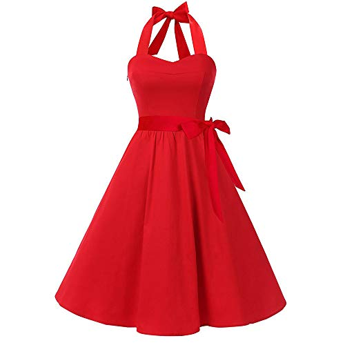 VEMOW Elegante Damen Damen Vintage Bodycon Sleeveless Halter beiläufige Tanzabend Party Prom Brautjungfern Swing Dress Faltenrock Cocktailkleid(X3-Rot, ()