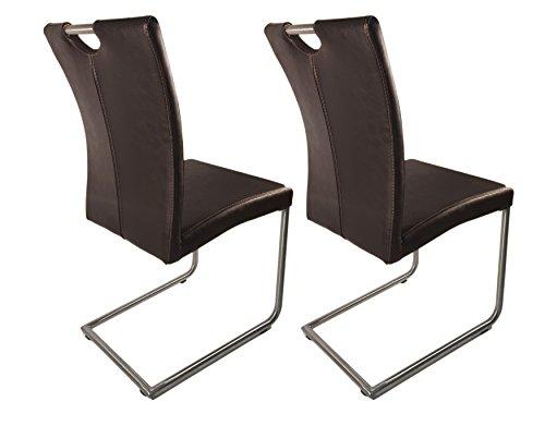 Meubletmoi Lot de 2 chaises Design de Salle à Manger en Simili Cuir/Piétement chromé Haute qualité- Collection Sophie - Marron