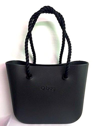 Borsa o bag nera+manici corda lunghi neri+sacca