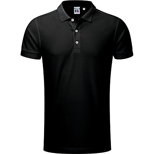 Russell Unisex Stretch Polo Shirt Black (Polo Cotton Herringbone)