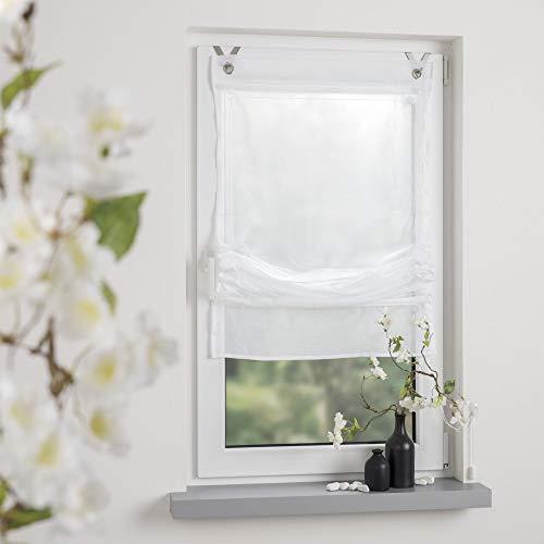 OBI Raffrollo Raffvorhang Easy Gardine Store Montage ohne Bohren | Weiß | 60 x 170 cm