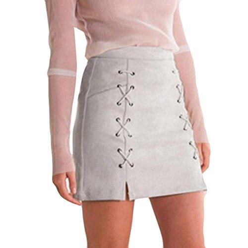 Röcke Rcool Mode Verband Wildleder Stoff a-Linie Rock nahtlose Stretch engen kurzen Rock für Frauen Damen (L, Grau)