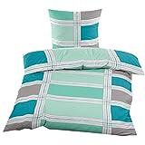 Fleece Bettwäsche mit Reißverschluss aus 100% hochwertigem Polyester 135x200 cm Blau Grün Kariert