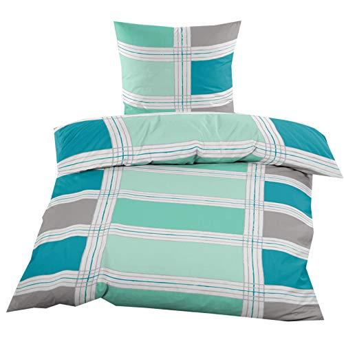 Fleece Bettwäsche mit Reißverschluss aus 100% hochwertigem Polyester 135×200 cm Blau Grün Kariert