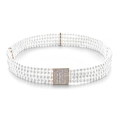 MagiDeal damen Perle Kristall Schnalle Dehnbar Taille Korsett Gürtel kettengürtel Taillengürtel Weiß 72cm (Korsett Perlen)