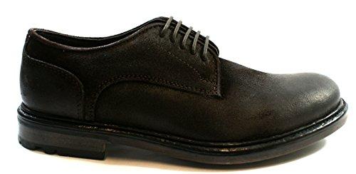 Base London Scarpa Uomo Allacciata Sneaker Pelle Ingrassata Crosta Brown,42