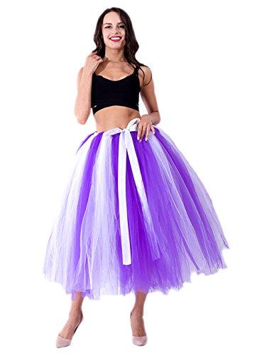 Crinkle-jeans-rock (Honeystore Damen's Tüllrock Maxirock Lang Tüll Rock Tutu Hochzeit und Party Prinzessin Ballettrock One Size Violett und Weiß)