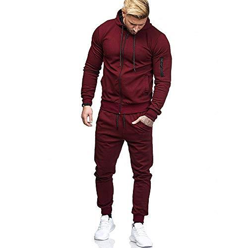 Elecenty Cappotti da uomo Cerniera per patchwork autunno uomo Felpa Top Pantaloni Imposta tuta sportiva Cappotto Outwear autunno