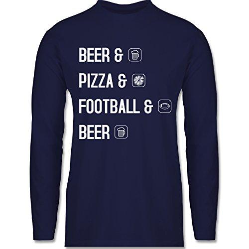 Shirtracer Sonstige Sportarten - Beer Pizza Football Beer - Herren Langarmshirt Navy Blau
