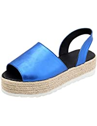 LILICAT✈✈ Womens Ladies Summer Flat Playform Woven Thick-Bottom Sandals Roman Shoes,