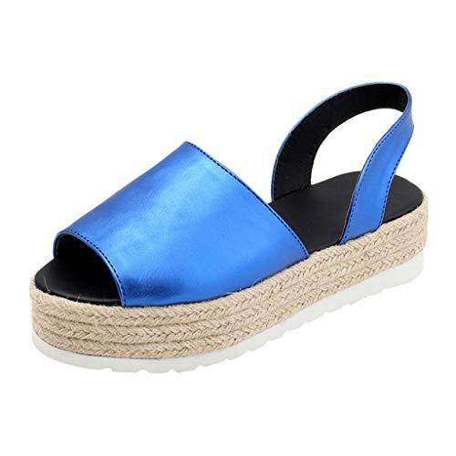 Yvelands Damen Sommer Flache Playform Woven Thick-Bottom Sandalen Roman Shoes(CN-42,Blau)