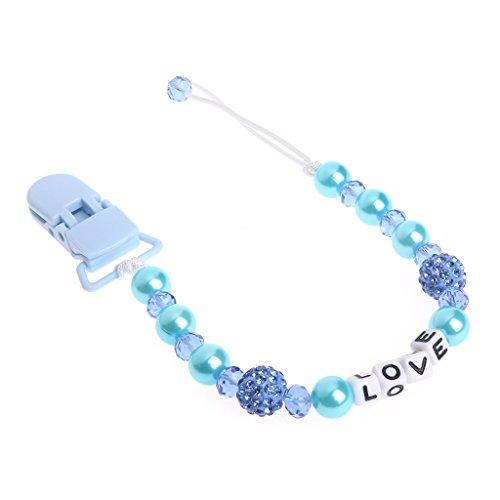 509c1a523e4d4 Lunji Mignon Attache Sucette Bebe Bling Cristal Attache Tetine (Bleu)