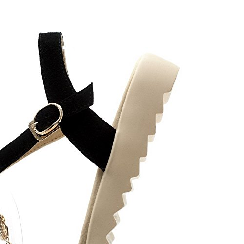 VogueZone009 Donna Fibbia Punta Aperta Tacco Basso Pelle Di Mucca Heeled-Sandals Nero