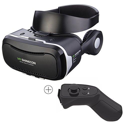 3D VR Brille, Hizek Virtual Reality Headset mit Fernbedienung VR Box mit Kopfhörer Google Cardboard Upgrade-Version Film Spiele Helm für iPhone 7 / 6sPlus / iPhone6Plus ,Samsung Galaxy S7 / Galaxy S7 Edge, HUAWEI (Schwarz)