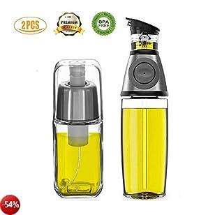 Kit dispenser olio e spruzzatore olio, FIFILARY boccetta per l'olio con misurino sul corpo e beccuccio anti gocciolamento, per aceto con filtro anti ostruzione per friggitrice ad aria BBQ, la confezione include sia la dimensione da 500ml(17,6oz) che que