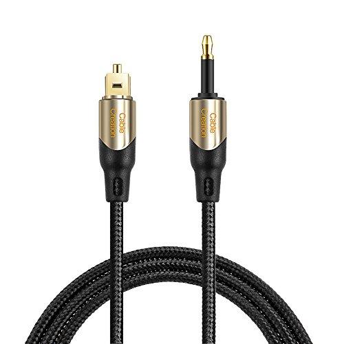 CableCreation 6 Füße Toslink Stecker auf Mini Toslink Stecker Digital Optisches S/PDIF Audio Kabel mit Metallsteckern, Schwarz & Gold / 1.8 Meter Gold High Resolution Audio-kabel