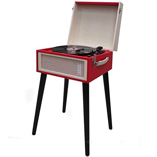 Vetrineinrete® Giradischi con stand stile Vintage Retrò per vinili da 33 45 78 giri con bluetooth e funzione encoding convertitore mp3 e ingresso aux altoparlanti casse integrate 12 watt rosso B48