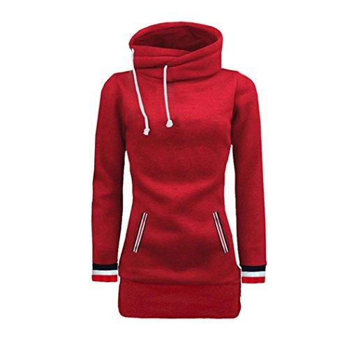 Damen Kapuzenpullover Hoodie Sweatshirt Sonnena Lange Hülse Einfarbig Bluse Loose Sweatshirt Pullovers Tops mit Pocket (Asian M, Rot)