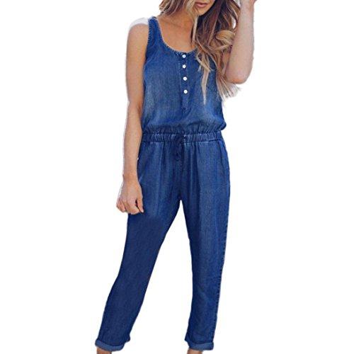 MCYs Damen Holiday Ärmellos Playsuit Jeans Denim Elastische Taille Riemchen Long Beach Hosen Strap Lose Spielanzug Jumpsuit Overall (M, Dunkelblau)