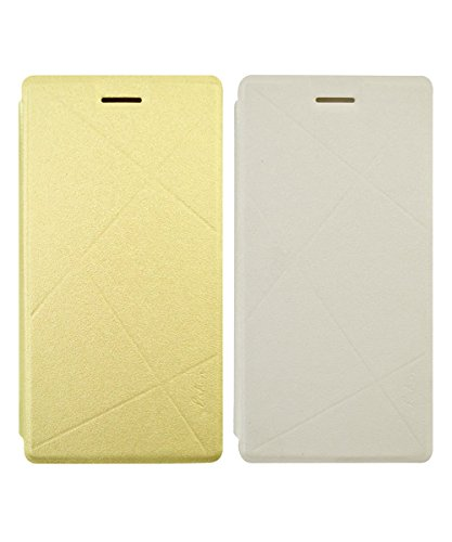 COVERNEW Flip Cover for Samsung Galaxy On7 Pro - Golden::White