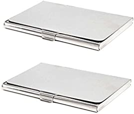 SEPAL Stainless Steel RFID Slim Design Credit Card Holder For Men & Women (Pack of 2)