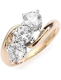 Renato Fellini Women's Ring 375 Yellow Gold Zirconia White HEJR 73152 Brilliant-Cut Diamonds PZCVEb