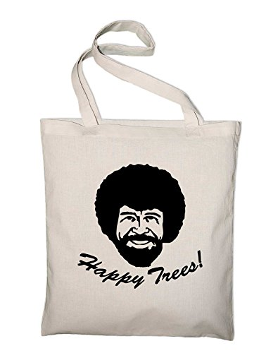 Bob Ross Happy Trees Shopping Bag Tote Bag Beach Gym Canvas Cotton Jute quotes slogan