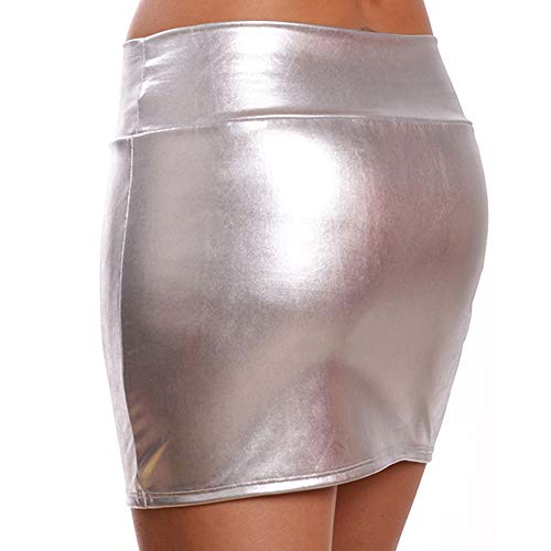HNGPB Damen Sexy Lackleder Paket Hip Rock Metallic Micro Mini Rock Party Silber - Micro Mini Stretch Rock