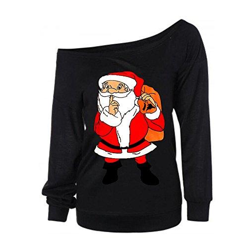 Topgrowth Maglioni da Donna Autunno Maniche Lunghe Felpa Senza Spalline Maglietta Pullovers Babbo Natale Tops Nero