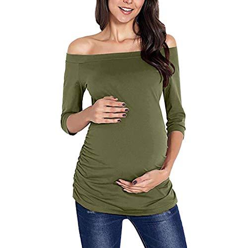 d522fae1edf47 Beisoug Sexy Women Pregnancy Casual Eine Schulter Tops Pflege Umstandsmode