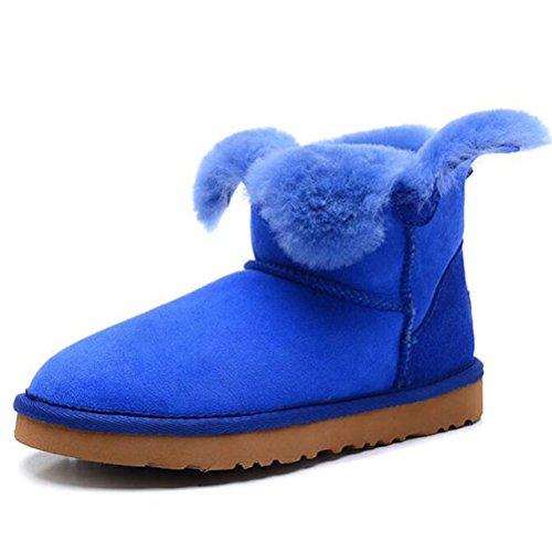 Vogstyle Femme Bottes de Neige Bout Rond en Peau de Mouton Colore Bleu